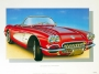 1960 CORVETTE ROMAN-RED - framed with proof of artist