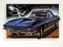 1965 CORVETTE MIDNIGHT-BLUE - framed with proof of artist